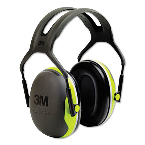 PELTOR X4 Earmuffs, 27 dB NRR, Fluorescent Yellow-Green