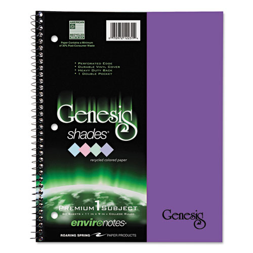 Roaring Spring® One Subject Genesis Shades Notebook, 11 x 8 1/2, College Rule, Purple, 34 Sheets