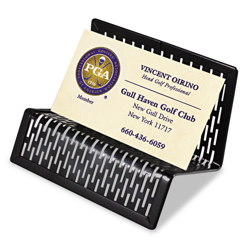 Urban Collection Punched Metal Business Card Holder, Holds 50 2 x 3 1/2, Black | by Plexsupply