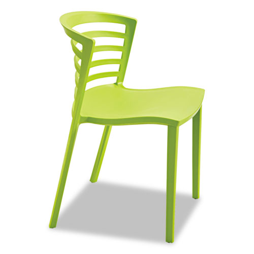 Entourage Stack Chairs, Grass Seat/Grass Back, Grass Base, 4/Carton | by Plexsupply