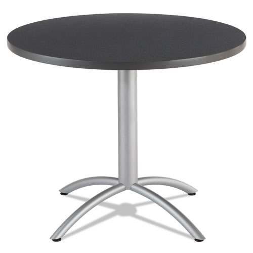 CafEWorks Table, 36 dia x 30h, Graphite Granite/Silver | by Plexsupply