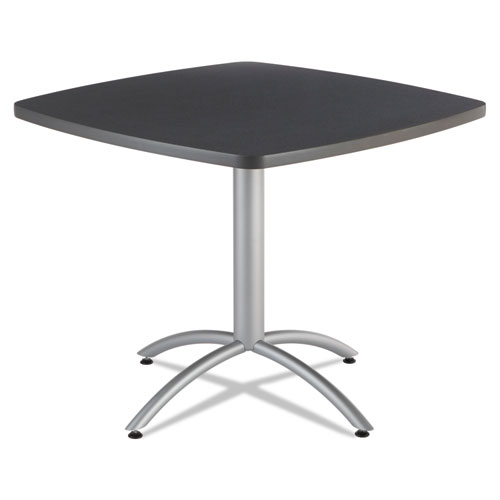 CafEWorks Table, 36w x 36d x 30h, Graphite Granite/Silver | by Plexsupply