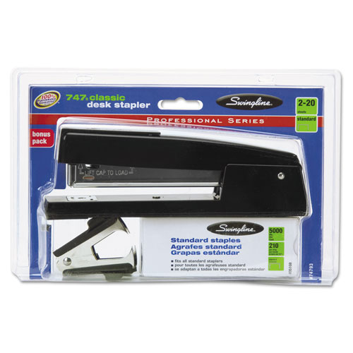747 Classic Stapler Plus Pack with Staple Remover and Staples, 20-Sheet Capacity, Black | by Plexsupply
