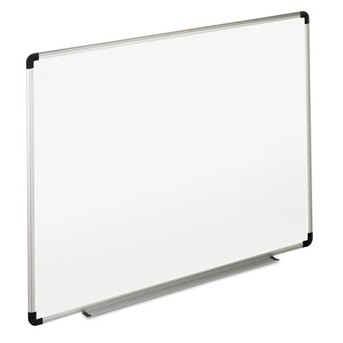 Dry Erase Board, Melamine, 72 x 48, White, Black/Gray Aluminum/Plastic Frame | by Plexsupply
