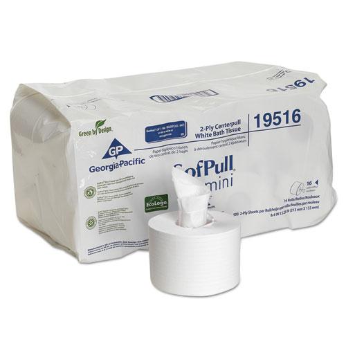 Georgia Pacific® Professional SofPull Mini Centerpull Bath Tissue, Septic Safe, 2-Ply, White, 5.25 x 8.4, 500 Sheets/Roll, 16 Rolls/Carton