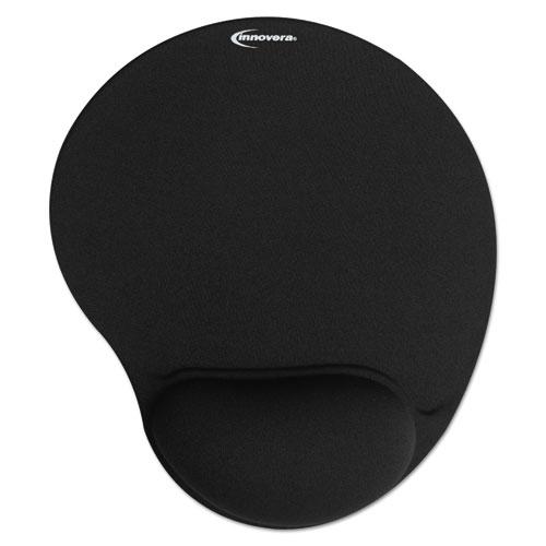 Mouse Pad w/Gel Wrist Pad, Nonskid Base, 10-3/8 x 8-7/8, Black | by Plexsupply