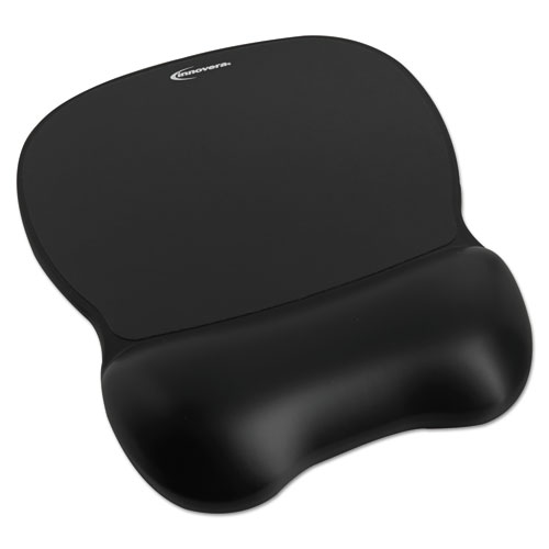 Gel Mouse Pad w/Wrist Rest, Nonskid Base, 8-1/4 x 9-5/8, Black | by Plexsupply