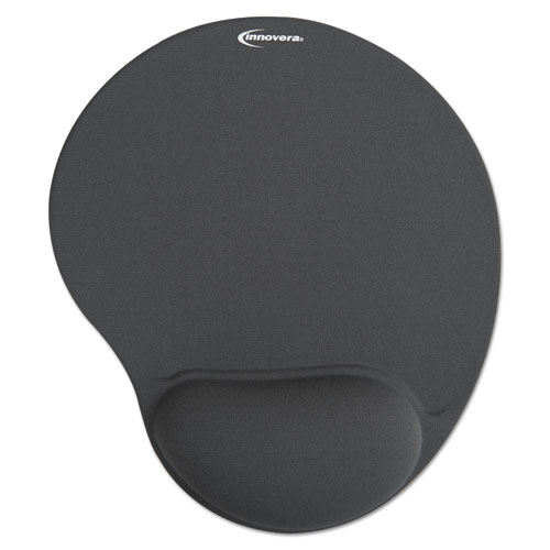 Mouse Pad w/Gel Wrist Pad, Nonskid Base, 10-3/8 x 8-7/8, Gray | by Plexsupply