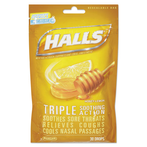 Triple Action Cough Drops, Honey-Lemon, 30/Bag, 12 Bags/Box