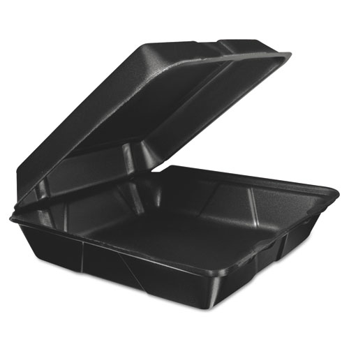 Dart® Foam Hinged Lid Container, 9.3w x 3h x 3d, Black, 200/Carton