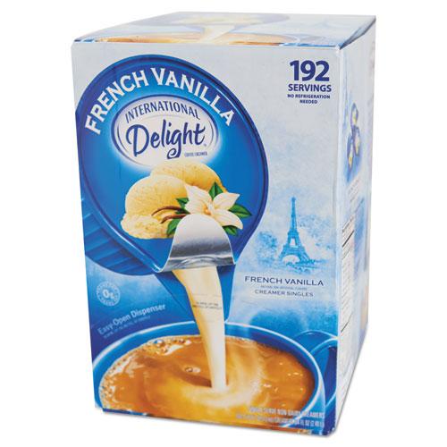 Flavored Liquid Non-Dairy Coffee Creamer, French Vanilla, 0.4375 oz Cups, 192/CT | by Plexsupply