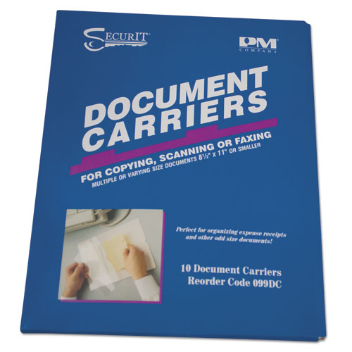 Document Carrier for Copying, Scanning, Faxing, 8 1/2 x 11, Clear, 10/Pack