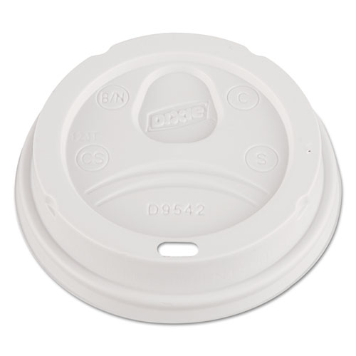 Dome Drink-Thru Lids, Fits 12 oz. & 16 oz. Paper Hot Cups, White, 100/Pack | by Plexsupply