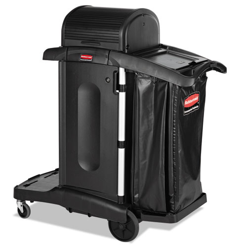 Executive High Security Janitorial Cleaning Cart, 23.1w x 39.6d x 27.5h, Black