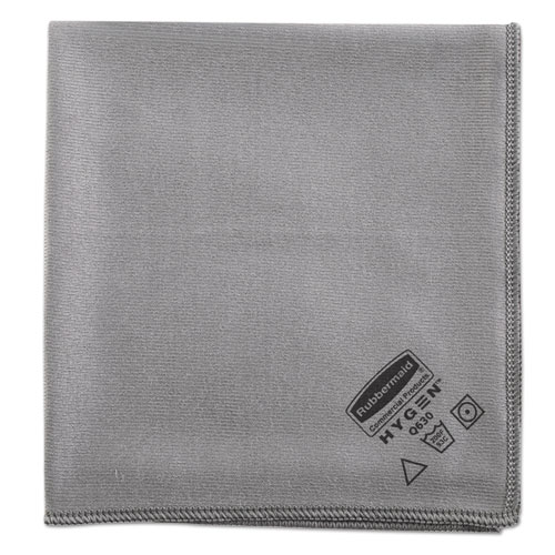 Rubbermaid® Commercial Executive Glass Microfiber Cloths, Gray, 16 x 16, 12/Pack RCP1867398