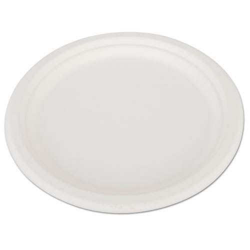 "ChampWare Heavyweight Bagasse Dinnerware, Plate, 10"", White, 500/Carton 