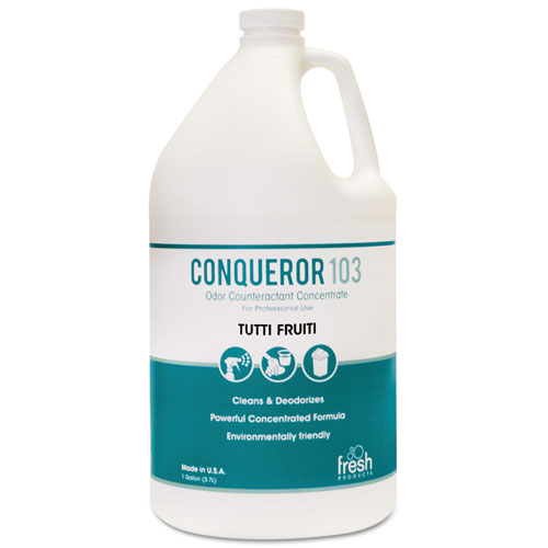 Conqueror 103 Odor Counteractant Concentrate, Tutti-Frutti, 1 gal Bottle, 4/Carton