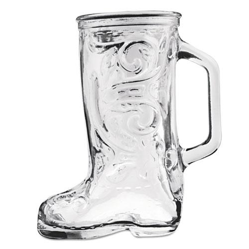 Boot Beer Mug, Glass, 12 1/3 oz, Western Boot, Clear, 24/Carton 162U