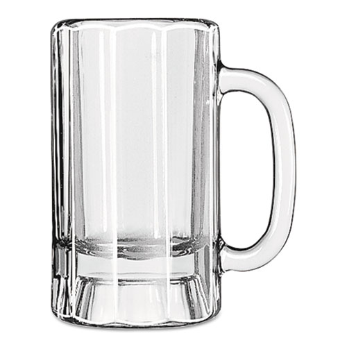 Libbey Glass Mugs & Tankards, 14 oz, Clear, Paneled Beer Mug, 12/Carton