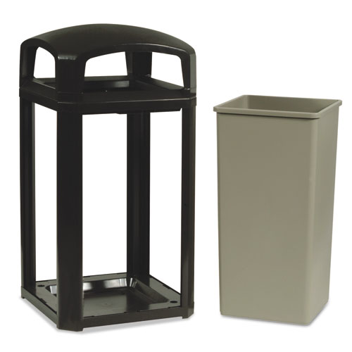 Rubbermaid® Commercial Landmark Series Classic Dome Top Container w/Ashtray, Plastic, 50 gal, Sable
