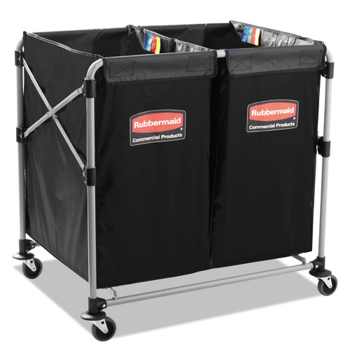 Rubbermaid® Commercial Collapsible X-Cart, Steel, 2 to 4 Bushel Cart, 24 1/10w x 35 7/10d, Black/Sil RCP1881781