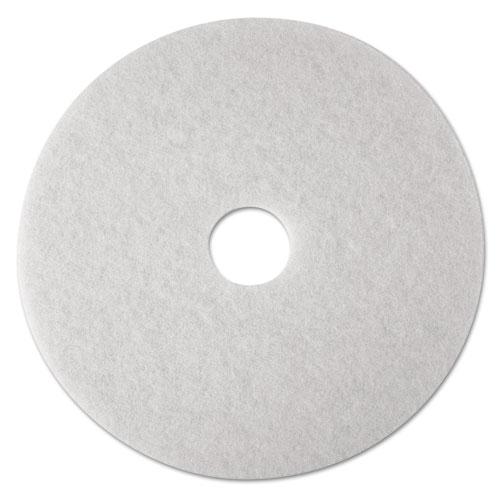 "3M™ Low-Speed Super Polishing Floor Pads 4100, 24"" Diameter, White, 5/Carton"