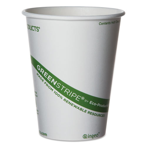 GreenStripe Renewable & Compostable Hot Cups - 12 oz., 50/PK, 20 PK/CT EPBHC12GS