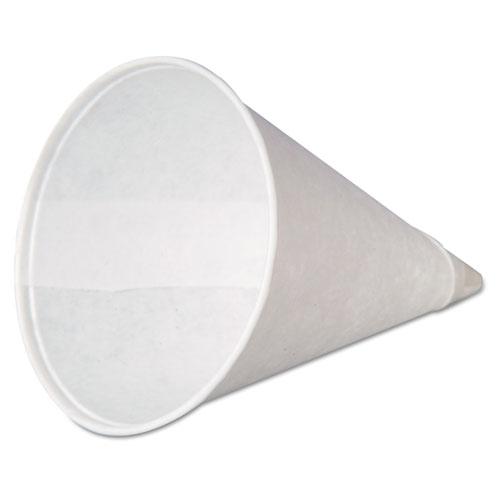 Paper Cone Cups, w/Rolled Rim, 4oz, White, 200/Pack, 25 Packs/Carton W4F