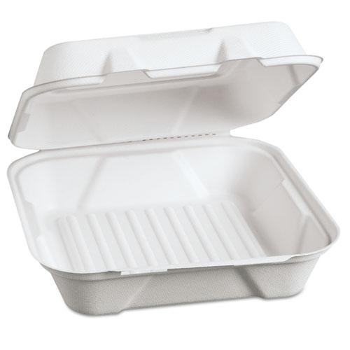 Genpak® Harvest Fiber Hinged Containers, 9 x 9 x 3, White, 100/Pack, 2 Packs/Carton