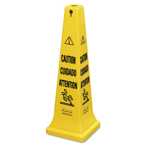"Multilingual Safety Cone, ""CAUTION"", 12 1/4w x 12 1/4d x 36h, Yellow"