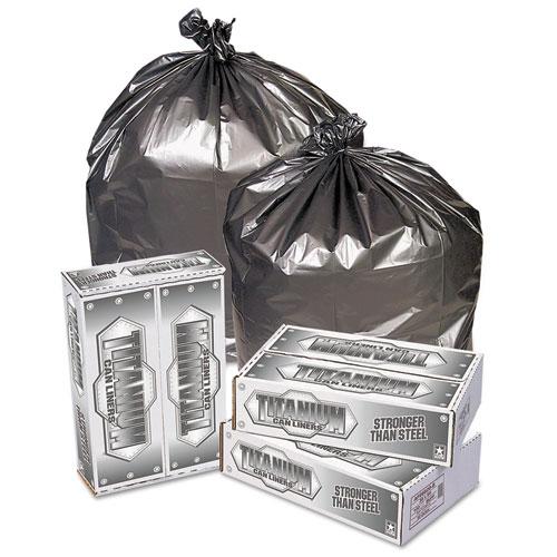 "Pitt Plastics Titanium Low-Density Can Liners, 45 gal, 1.7 mil, 39"" x 47"", Silver, 50/Carton"