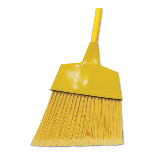 "Boardwalk® Poly Fiber Angled-Head Lobby Brooms, 55"", Yellow Metal Handle, 12/Carton"