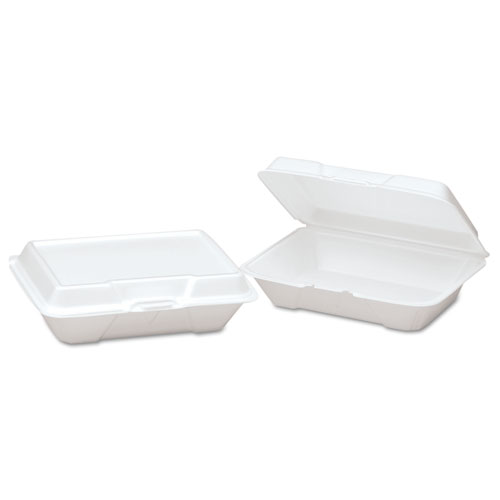 Foam Hinged Carryout Container, Shallow, 9-1/5x6-1/2x2-8/9, White, 100/BG, 2/CT | by Plexsupply