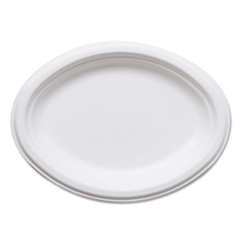 Renewable and Compostable Sugarcane Plates, Oval - 10 x 7, 50/Packs, 10 Packs/Carton