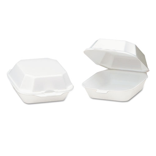 Foam Hinged Container, Sandwich, 5-1/8x5-1/3x2-3/4, White, 125/Bag, 4 Bags/CT