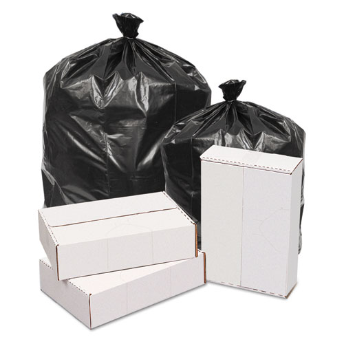 """GEN Waste Can Liners, 60 gal, 1.6 mil, 38"""" x 58"""", Black, 100/Carton"""