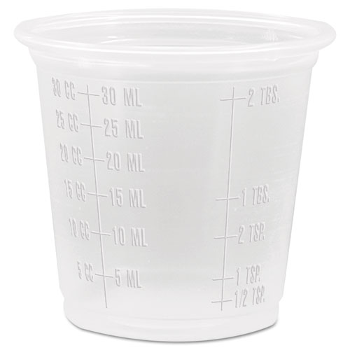 Conex Complements Graduated Plastic Portion Cups, 1.25oz, Translucent, 2500/CT 125PCG
