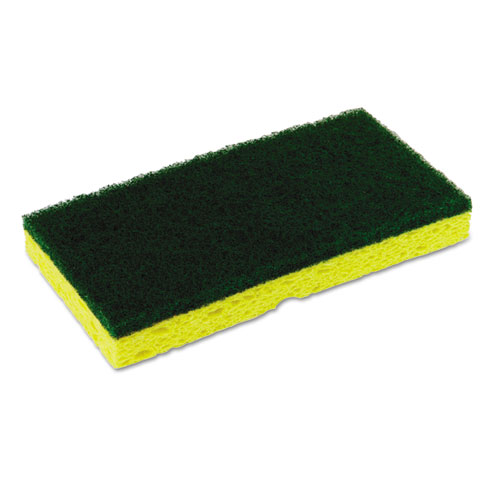 Medium-Duty Sponge N Scrubber, 3 3/8 x 6 1/4, Yellow/Green, 3/PK, 8 PK/CT