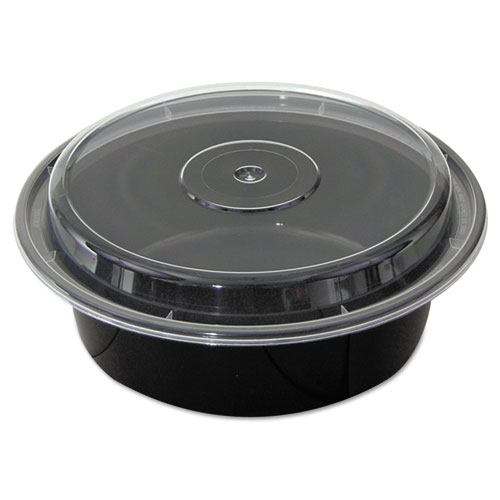"VERSAtainers, Black/Clear, 32 oz, 7""Dia x 2""H, 150/Carton 