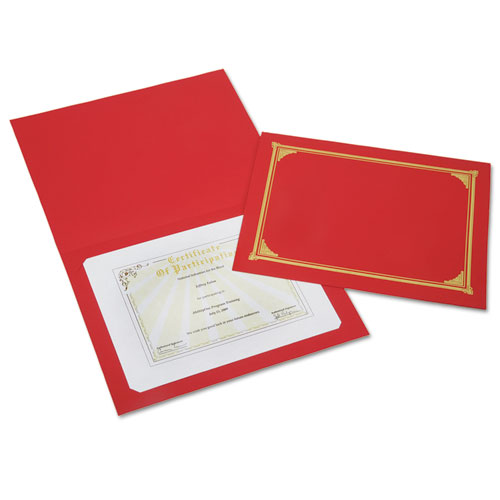 7510016272960 SKILCRAFT Gold Foil Document Cover, 12 1/2 x 9 3/4, Red, 6/Pack