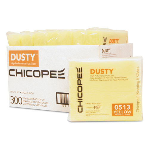 Disposable Dust Cloths, 14 5/8 x 17, Yellow, Rayon/Poly, 25/Bag, 12 Bag/Carton