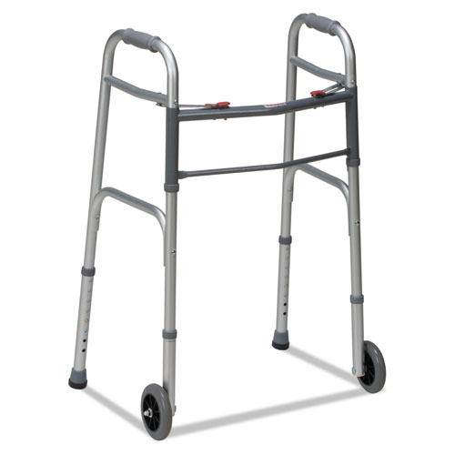 """Two-Button Release Folding Walker with Wheels, Silver/Gray, Aluminum, 32-38""""H"""