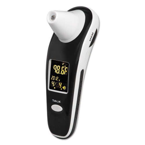 DigiScan Forehead  Ear Thermometer, Black/White, Digital/Verbal Readout