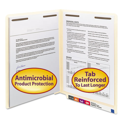 Manila Reinforced End Tab 2-Fastener Folders with Antimicrobial Product Protection, Straight Tab, Letter Size, 50/Box | by Plexsupply