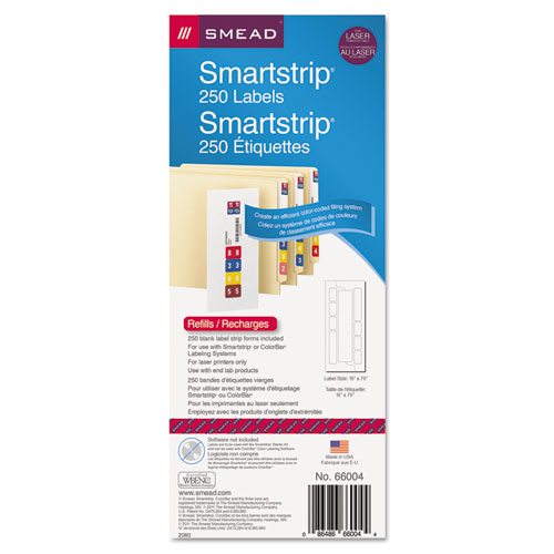 Color-Coded Smartstrip Refill Label Forms, Laser Printer, Assorted, 1.5 x 7.5, White, 250/Pack