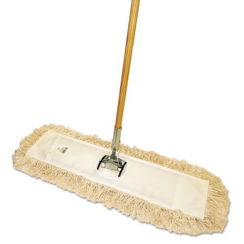 Cut-End Dust Mop Kit, 24 x 5, 60 Wood Handle, Natural
