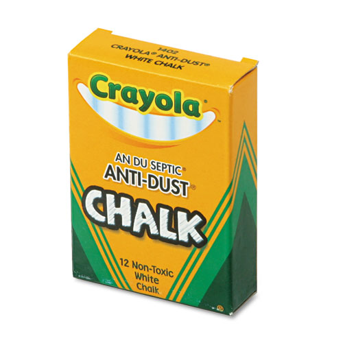 Nontoxic Anti-Dust Chalk, White, 12 Sticks/Box | by Plexsupply