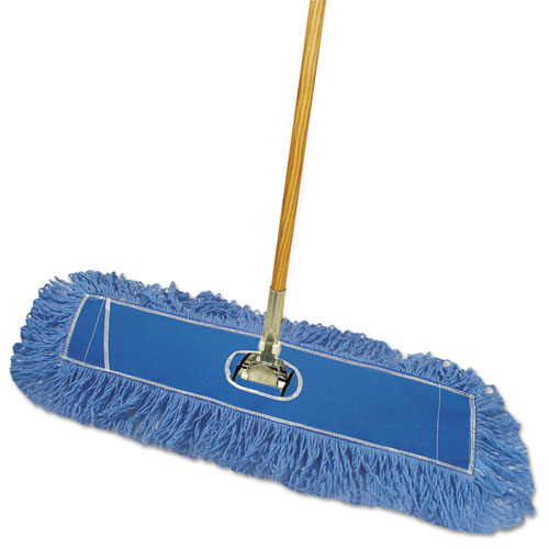 Looped-End Dust Mop Kit, 24 x 5, 60 Metal/Wood Handle, Blue/Natural
