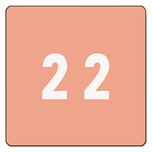 Smead® Single Digit End Tab Labels, Number 2, Pink, 250/Roll