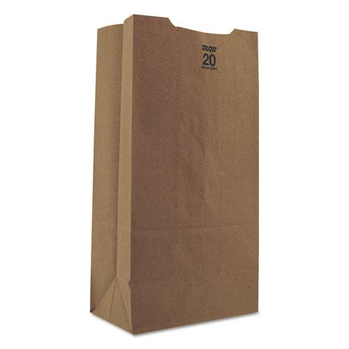 "Grocery Paper Bags, 50 lbs Capacity, #20, 8.25""w x 5.94""d x 16.13""h, Kraft, 500 Bags BAGGH20"